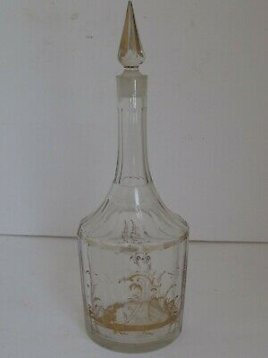 Antique French Clear Glass Decanter with Gold Decoration 18th c.