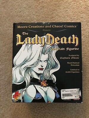 Vintage THE LADY DEATH Porcelain Figurine Moore Creations and Chaos Comics