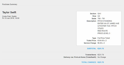 2 PDF Tickets for Taylor Swift Tickets Dublin Croke Park 15.06 Pitch Standing