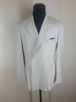 Ralph Lauren Rrl  Made In U.s.a. 100% Linen Double Breasted Blazer No Vents 44 R