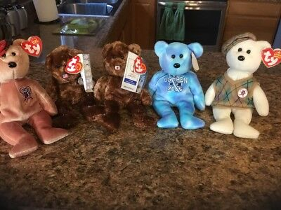 "TY Beanie Babies ""CHAMPION"" Bear 2002 FIFA World Cup Korea/Japan. With 4 Other"