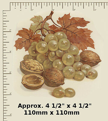 """1 x Ceramic decal. Decoupage Small Plate Fruit Nuts Grapes 4 1/2"""" (110mm) R10"""