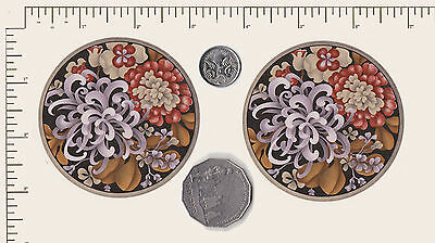 """2 x Ceramic decal. Circle. Flowers Floral  Coaster 3"""" (75mm) PD838a"""