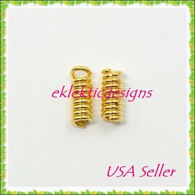 100pc Gold Plated Cord Ends Coils Tips 8.5x3mm Crimps Necklace Jewelry Findings