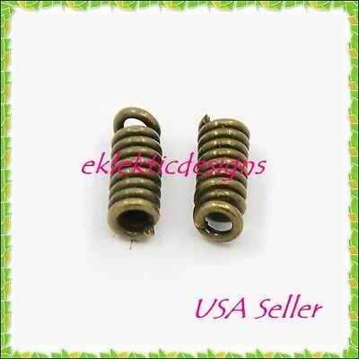 50pc Antique Brass Cord Ends Coils Tips 8.5x3mm Crimps Necklace Jewelry Findings