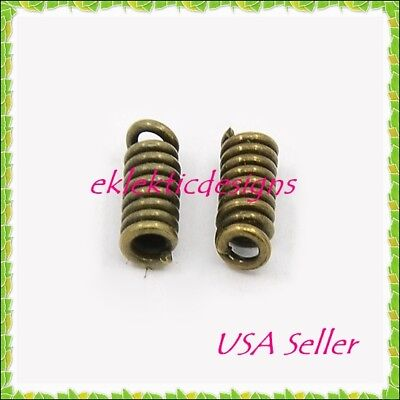 100pc Antique Brass Cord Ends Coil Tips 8.5x3mm Crimps Necklace Jewelry Findings