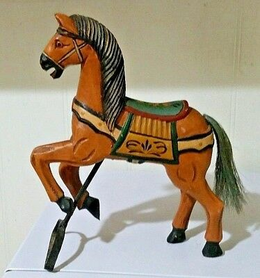 """VINTAGE CARVED WOODEN HORSE~FOLK ART~Palomino?~Hand Painted~10.5""""X 8""""~Horse Hair"""
