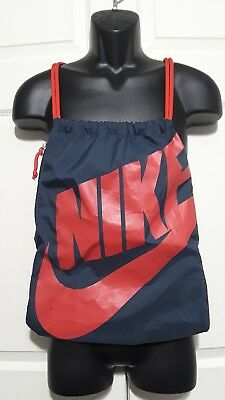 99b0a5758a3 Nike Drawstring Backpack Cinch Sack, Gym Bag with zippered pouch - Blue Red