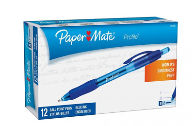 Paper Mate Profile Retractable Ballpoint Pens, Bold Point, Blue, 12-Count(1.4mm)