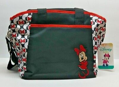 New Disney Minnie Mouse Diaper Tote Bag 5 Pieces Black Red White Stroller Straps