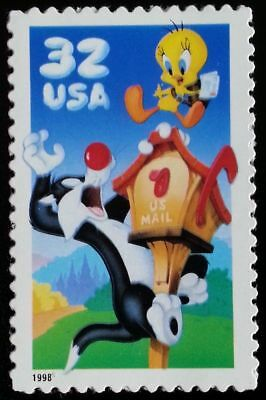 Booklet Pane of 10 Mint SYLVESTER & TWEETY BIRD STAMPS Warner Bros Looney Tunes