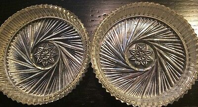 Stunning Vintage Cut Lead Crystal Pinwheel Star of David Coaster Set Of 2*