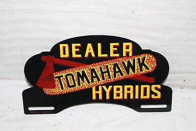 Vintage 1950's Tomahawk Hybrids Seed Corn Farm Metal License Plate Topper Sign