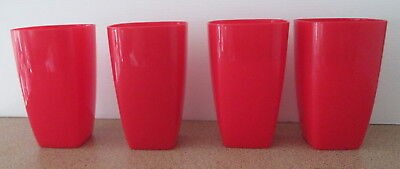 4 Red Cups Plastic Tumblers Bulk Lot Picnic Party Camping