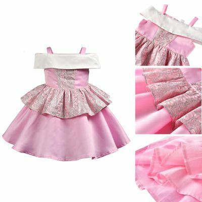 Baby Girls Off-shoulder Princess Embroidery Wedding Birthday Party Dress Costume