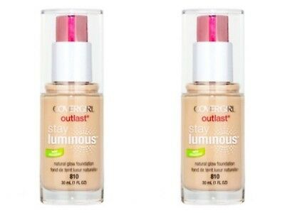 2 x COVERGIRL OUTLAST STAY LUMINOUS FOUNDATION MAKEUP 30ml - 810 CLASSIC IVORY