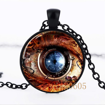 Steampunk Charm photo Glass Dome black Chain Pendant Necklace wholesale
