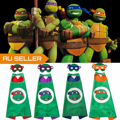 Kids Costume Cape and Mask Set Superhero Ninjia Turtles TMNT Party Gift Cosplay