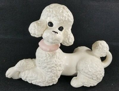 VTG Atlantic Mold Ceramic French Poodle Puppy Dog Figurines Home Decor Pink Chic