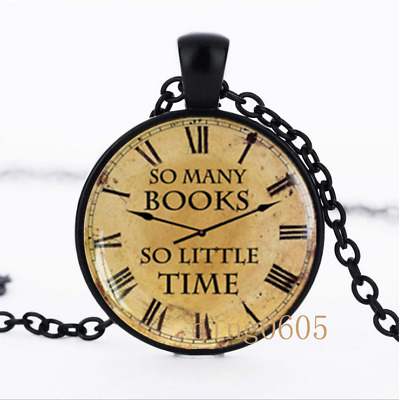 So Many Books So Little Time Glass Dome black Chain Pendant Necklace wholesale