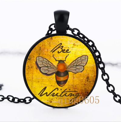 Bee a Writing Necklace photo Glass Dome black Chain Pendant Necklace wholesale
