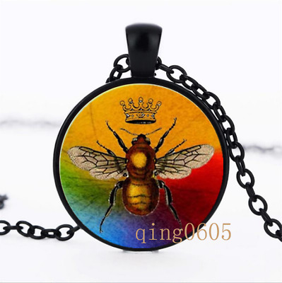 Bee an Artist Necklace photo Glass Dome black Chain Pendant Necklace wholesale