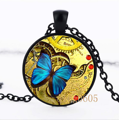 Steampunk Blue Butterfly Glass Dome black Chain Pendant Necklace wholesale