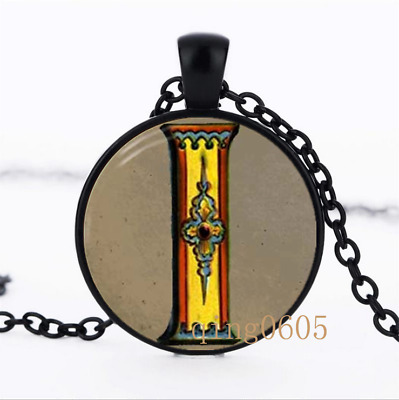 Letter I Victorian Alphabet  Glass Dome black Chain Pendant Necklace wholesale