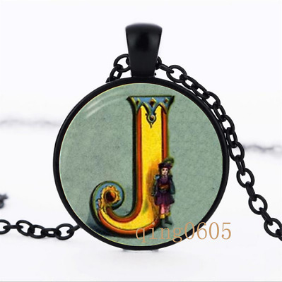 Letter J Victorian Alphabet Glass Dome black Chain Pendant Necklace wholesale