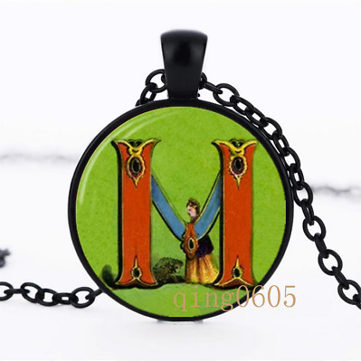 Letter M Victorian Alphabet Glass Dome black Chain Pendant Necklace wholesale