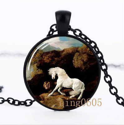 Horse Lovers Necklace photo Glass Dome black Chain Pendant Necklace wholesale