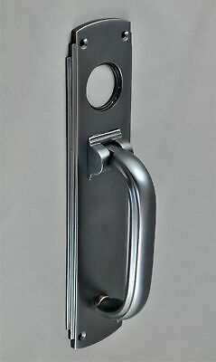 DOOR PULL HANDLE / KNOCKER-SOLID BRASS-3 FINISHES-ART DECO- lock cylinder fits