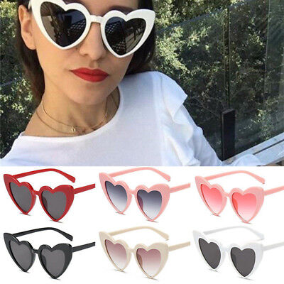 Retro Lolita Love Heart Shape Sunglasses Womens UV400 Cat Eye Vintage Sunglasses