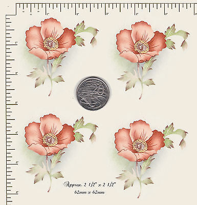 """4 x Waterslide ceramic decals POPPY HEAD Floral Flowers 2 1/2"""" x 2 1/2"""" PD91a"""