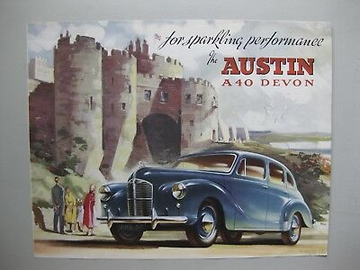 Austin A40 Devon Sedan folder brochure Prospekt English text 1950 4 pg