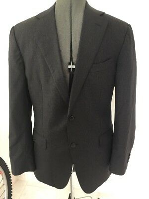"Vitale Barberis Canonico Italy Jacket 40"" Black Pinstripe Single Breasted"