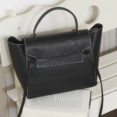 Celebrity Style Ribbon Medium Tote Shoulder Cross Bag Purse Real Cowhide Leather
