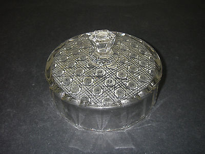 EAPG Pattern U.S. Glass No 9525 Lacy Daisy Clear Butter Dish Lid 1918.