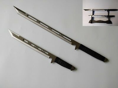 Full Tang Japanese Ninja Double Swords/ Machetes Silver Blade with Free Stand