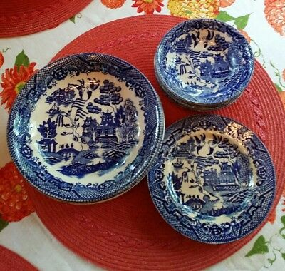 Mixed Lot Of 10  VINTAGE TRANSOR WARE Blue Willow OLD BLUE CASTLE BOWLS 2 Plates