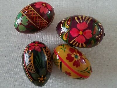 4 Vintage Polish Hand Painted Wooden Eggs