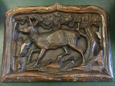 Antique 19th Century Deeply Carved Rare Black Forest Oak Plaque Panel