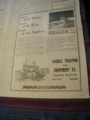 RARE 1929 caterpillar Holt newspaper ad cable tractor & equipment local dealer