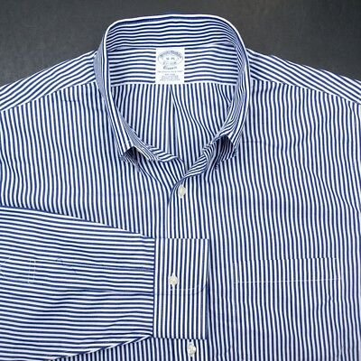 59ce9aec BROOKS BROTHERS Stripe Button Down Supima Cotton Mens Dress Work Shirt - 16  35