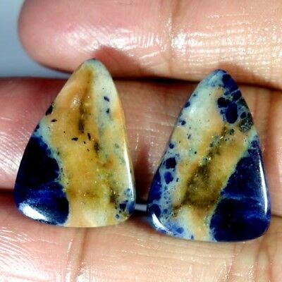 21.70Cts.100%natural Blue Sodalite Pear Pair Cabochon African Top Fine Gemstone