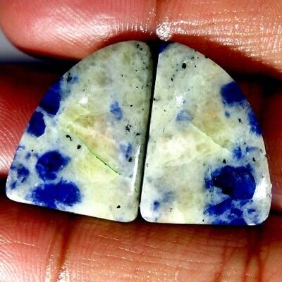 24.85Cts.100%natural Blue Sodalite Fancy Pair Cabochon African Top Fine Gemstone