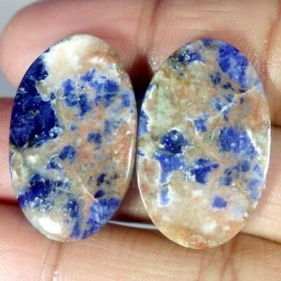 24.25Cts.100%natural Blue Sodalite Oval Pair Cabochon African Top Fine Gemstone