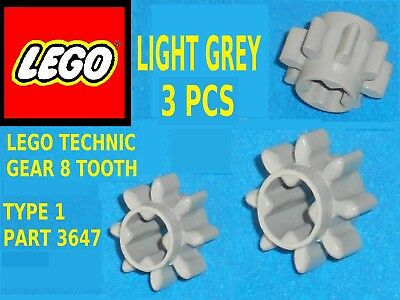 LEGO x 10 PART 3647  LIGHT GREY TECHNIC 8 GEAR TOOTH TYPE 1
