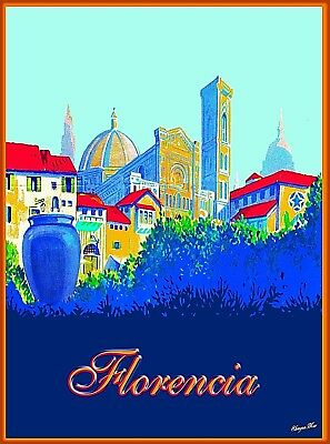 Florencia Florence Italy Vintage Travel Wall Decor Advertisement Poster Print