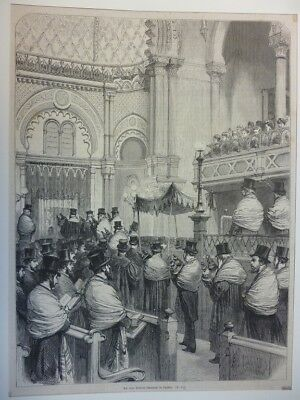 Orig. Holzstich - Die neue Central-Synagoge in London.